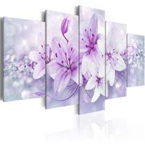 quadros decorativos para sala orquideas brancas com efeito brilhantes rosas - KyMe