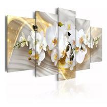 quadros decorativos para sala orquideas brancas com efeito dourados brilhantes - Kyme