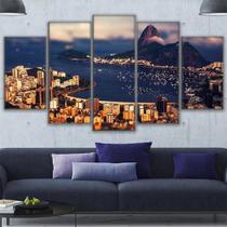 Quadros Decorativos Rio De Janeiro A Noite  Mosaico 5 Peças - Decorestudio