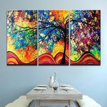 quadros decorativos sala 3 peças arvore colorida abstratos - KyMe