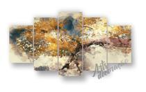 Quadros Decorativos Sala Pintura Aquarela Árvore Cerejeira - Reisdosquadros