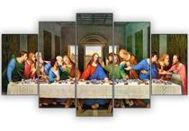 Quadros Decorativos Santa Ceia Mosaico 5 Peças - Paradecoração