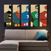 quadros decorativos super-heróis batmam super man 5 peças - KyMe