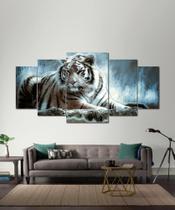 Quadros Decorativos Tigre Da Noite Mosaico 5 Peças - Decorestudio