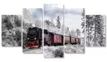 Quadros Decorativos Trem Na Neve Mosaico 5 Peças - Neyrad