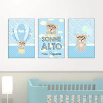 Quadros Decorativos Ursinho Baloeiro kit 3-20x30cm Azul Infantil Criança Bebê, Leve, fácil e prática instalação 6mm - D Lima produtos