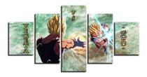 Quadros Decorativos Vegeta Vs Goku  Mosaico 5 Peças - Decorestudio