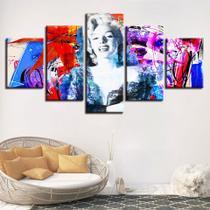 quadros decorativos5 peças marilyn monroe abstrato - KyMe