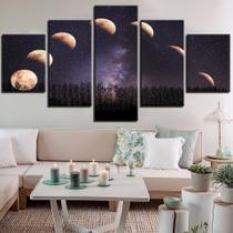 quadros fases da lua espaço céu estrelado 5 peças decorativo - KyMe