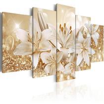 quadros flores lirios com efeito dourados brilhantes 5 peças - KyMe