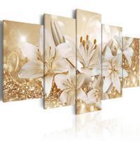 Quadros Flores Lirios Com Efeito Dourados Brilhantes 5 Peças - Neyrad