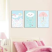 Quadros Infantil Chuva De Amor kit 3 peças 20x30cm Quarto Bebê E Infantil - D'Lima