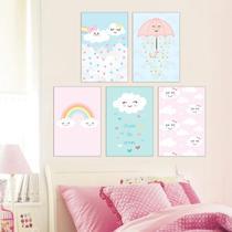 Quadros Infantil Chuva De Amor kit 5 peças 20x30cm Quarto Bebê E Infantil - D.Lima Produtos