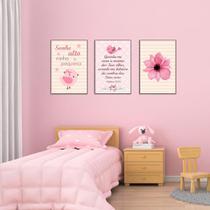 Quadros infantil Flor e Passarinho Menina Kit 3 20x30cm Decorativo Poster Painel Quarto Criança Lindo Para Decorar - D.Lima produtos