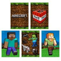 Quadros Minecraft kit 5 peças 20x30cm Decoração quarto Jogo - D Lima Produtos