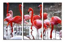 Quadros Mosáico 3 Peças Flamingos Vermelhos - Neyrad