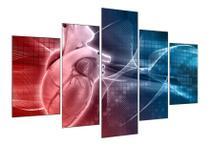 Quadros mosaico 5 peças medicina cardiologia medico coraçao - Kyme