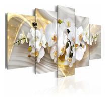 Quadros Mosaico Sala Quarto Orquídea Branca Dourada - Neyrad