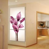 quadros para sala 3 peças lirios rosas flores para decoraçao - KyMe