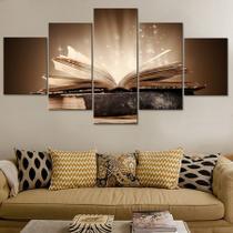 quadros para sala 5 peças biblia sagrada o grande testamento - Kyme