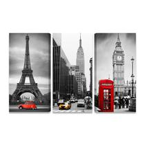 Quadros Paris Nova York Londres Kit 3 Telas Canvas Sala PQ - Bimper