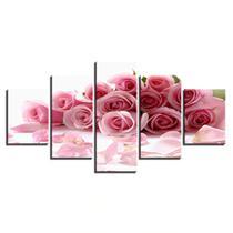 Quadrosdecorativos para sala 5 peças flores rosas buque - KyMe