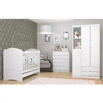 Quarto Bebê com Guarda Roupa 3 Portas, Cômoda e Berço 3 em 1 Lápis de Cor Espresso Móveis Branco/Rosa -
