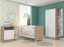 Quarto Bebê com Guarda Roupa + Cômoda + Berço Doce Sonho - QMovi -