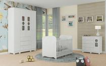 Quarto Completo Bebê Moveis Peroba Tedy 100% MDF Berço Americano Branco -