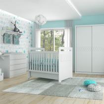 Quarto Completo de Bebê com Guarda Roupas Portas de Correr, Cômoda, Berço 3 em 1 e Mesa Lateral Kind Móveis Branco -
