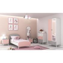 Quarto Completo Doçura 100% MDF com espelho Multimóveis Branco/cinza/Rosa -