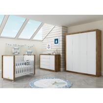 Quarto Completo para Bebê com Roupeiro 4 Portas + Cômoda + Berço Tutto New Matic -