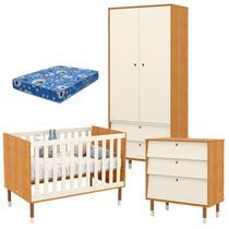 Quarto de Bebê 2 Portas com Cômoda Gaveteiro UP Freijó Off White Eco Wood e Colchão - Matic - Matic Moveis