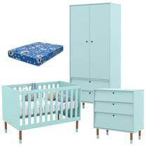 Quarto de Bebê 2 Portas com Cômoda Gaveteiro UP Menta Eco Wood e Colchão - Matic - Matic Moveis