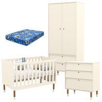 Quarto de Bebê 2 Portas com Cômoda Gaveteiro UP Off White Eco Wood e Colchão - Matic - Matic Moveis