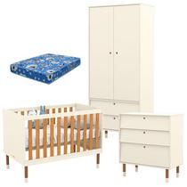 Quarto de Bebê 2 Portas com Cômoda Gaveteiro UP Off White Freijó Eco Wood e Colchão - Matic - Matic Moveis