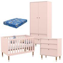 Quarto de Bebê 2 Portas com Cômoda Gaveteiro UP Rose Eco Wood e Colchão - Matic - Matic Moveis