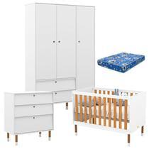 Quarto de Bebê 3 Portas com Cômoda Gaveteiro UP Branco Freijó Eco Wood e Colchão - Matic - Matic Moveis