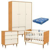 Quarto de Bebê 3 Portas com Cômoda Gaveteiro UP Freijó Off White Eco Wood e Colchão - Matic - Matic Moveis