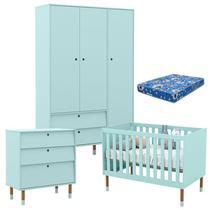 Quarto de Bebê 3 Portas com Cômoda Gaveteiro UP Menta Eco Wood e Colchão - Matic - Matic Moveis