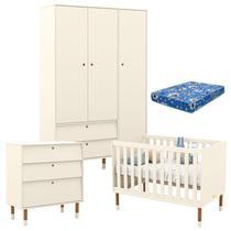 Quarto de Bebê 3 Portas com Cômoda Gaveteiro UP Off White Eco Wood com Colchão - Matic - Matic Moveis