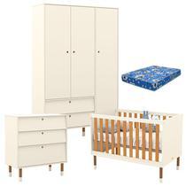 Quarto de Bebê 3 Portas com Cômoda Gaveteiro UP Off White Freijó Eco Wood e Colchão - Matic - Matic Moveis