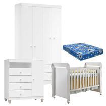 Quarto de Bebê 4 Portas Ternura Baby com Berço Mirelle Branco Brilho com Colchão - Incorplac -