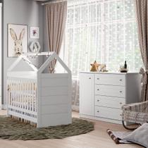 Quarto de Bebê Americano Berço Mini Cama e Cômoda 4 Gavetas  - Branco - Henn