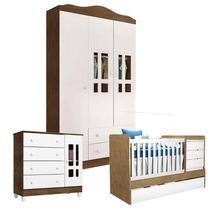 Quarto de Bebê Ariel 3 Portas com Berço Americano Multifuncional Cléo Branco Acetinado Amadeirado  Carolina - Carolina Baby