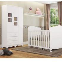 Quarto de Bebê Berço Americano e Guarda Roupa 3 Portas 3 Gavetas Uli Móveis Peroba Branco -