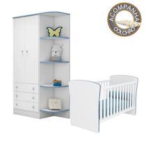 Quarto de Bebê Berço Colchão Nana e Guarda Roupa Doce Sonho Branco Azul Qmovi Umaflex -