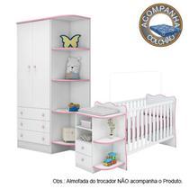 Quarto de Bebê Berço Cômoda Colchão Physical e Guarda Roupa Doce Sonho Branco Rosa Qmovi Ortobom -