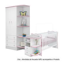 Quarto de Bebê Berço Cômoda e Guarda Roupa Doce Sonho Branco Rosa Qmovi -