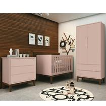Quarto de Bebê Classic Retrô Com Guarda Roupa 2 Portas + Cômoda + Berço Mini Cama - Reller -